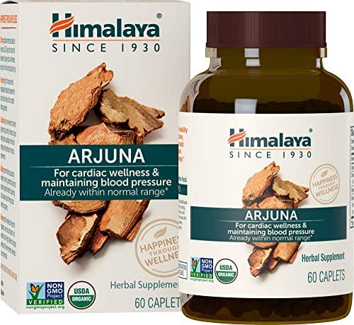 Himalaya Organic Arjuna 60 Caplets for Cholesterol, Blood Pressure & Healthy Heart Function Support 700mg, 2 Month Supply (1 PACK)