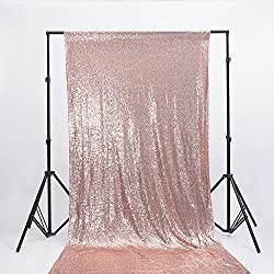 Zdada Rose Gold Wedding Sequin Satin Photography Backdrop Glitz Party Photo Booth Backdrop-4ftx6ft