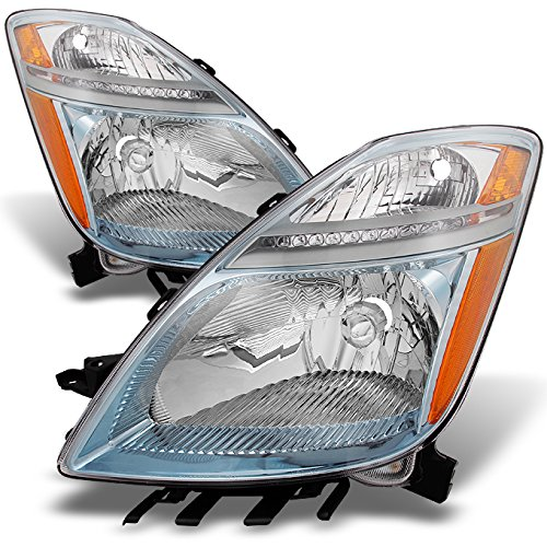 Toyota Prius Halogen Type Chrome Headlights Driver Left + Passenger Right Side Replacement Pair Set (Prius Headlight Assembly Hid compare prices)