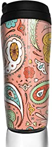 12 oz Tumbler with Lid Paisley Print Design Customized Coffee Cups for Women Men Travel Mugs Birthday Friends Gifts