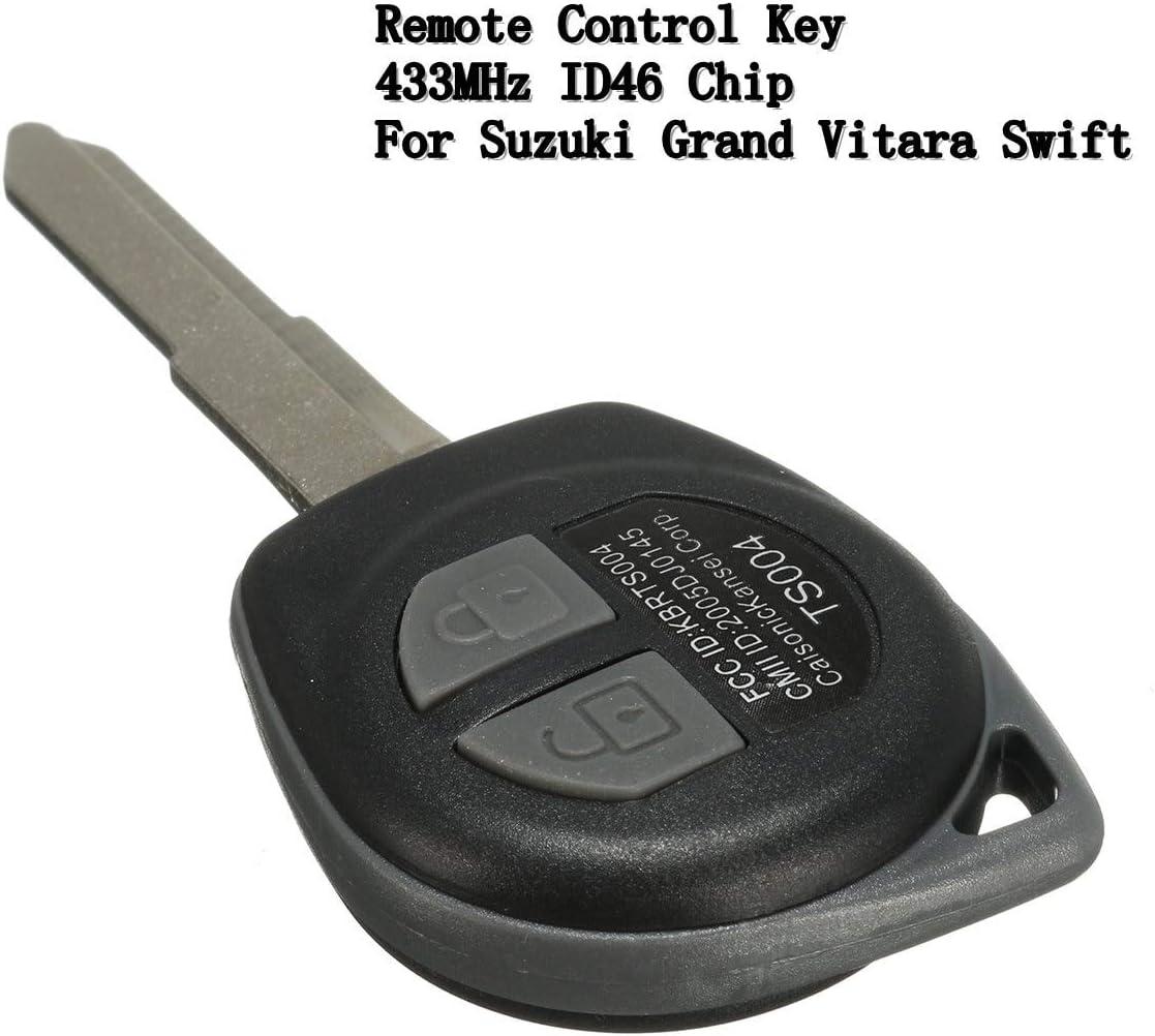 Keyless Remote Key Fob 2 Button ID46 Chip 433MHz For Suzuki Grand Vitara Swift
