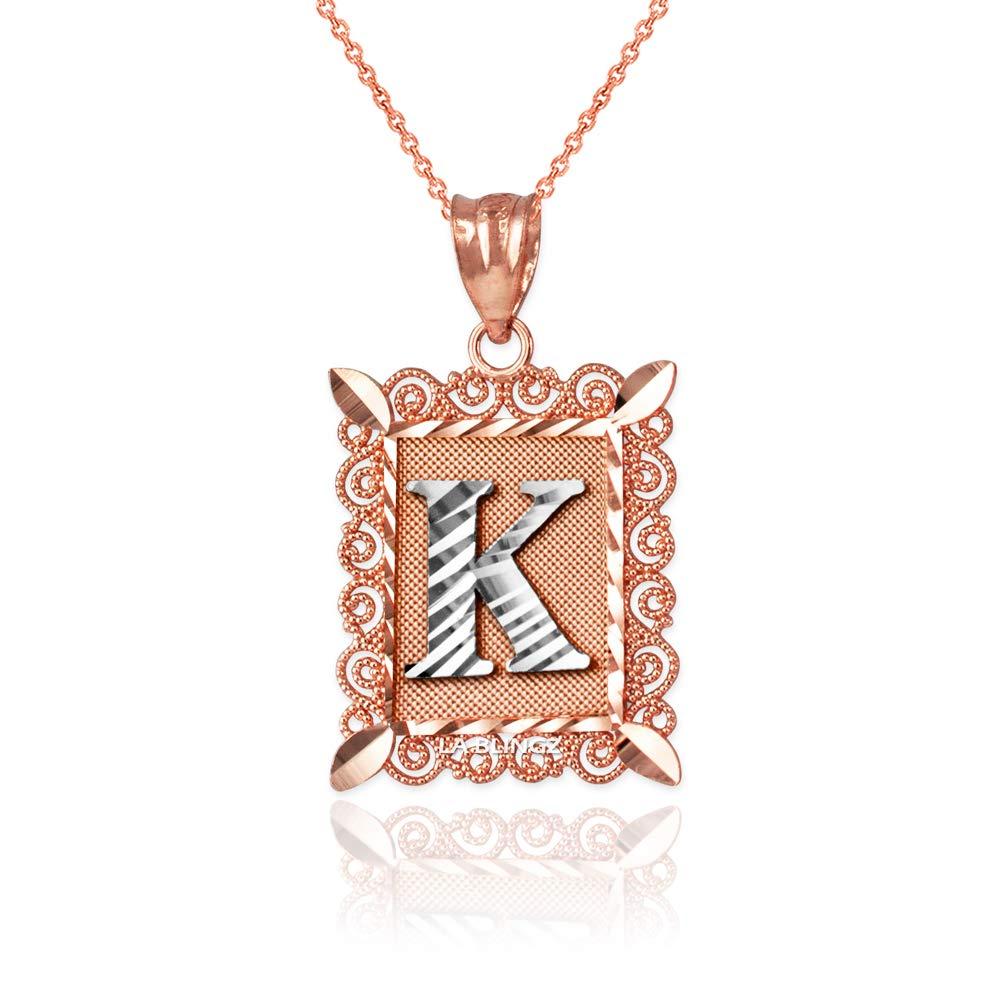 LA BLINGZ 10K Rose Gold Filigree Alphabet Initial Letter K DC Pendant Necklace