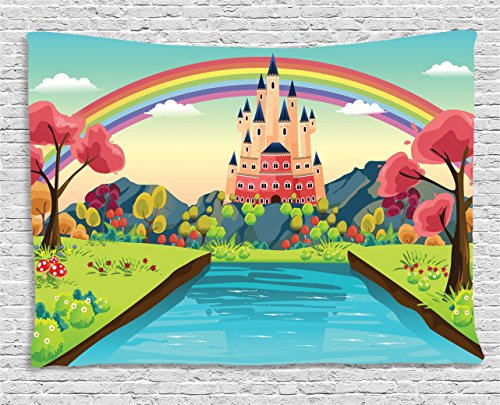 (Ambesonne Cartoon Tapestry, Fairytale Princess Prince Charming Home Alluring Castle with Rainbow Image Print, Wide Wall Hanging for Bedroom Living Room Dorm, 80