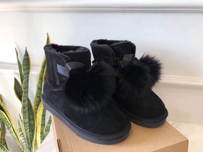 Shukun Stiefeletten Bow Snow Stiefel Lace Female Schlauch Baumwolle Verdickung Schuhe