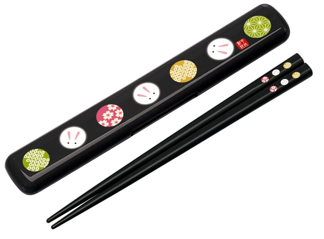 Japanese Temari Rabbit Chopstick and Case (Black)