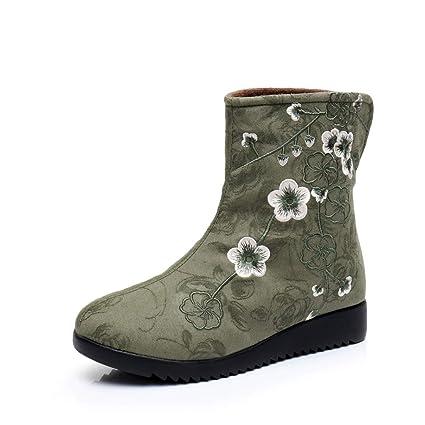 46c247ea5e575 Amazon.com: Hy Women's Embroidered Shoes, Fall/Winter Cotton Cloth ...