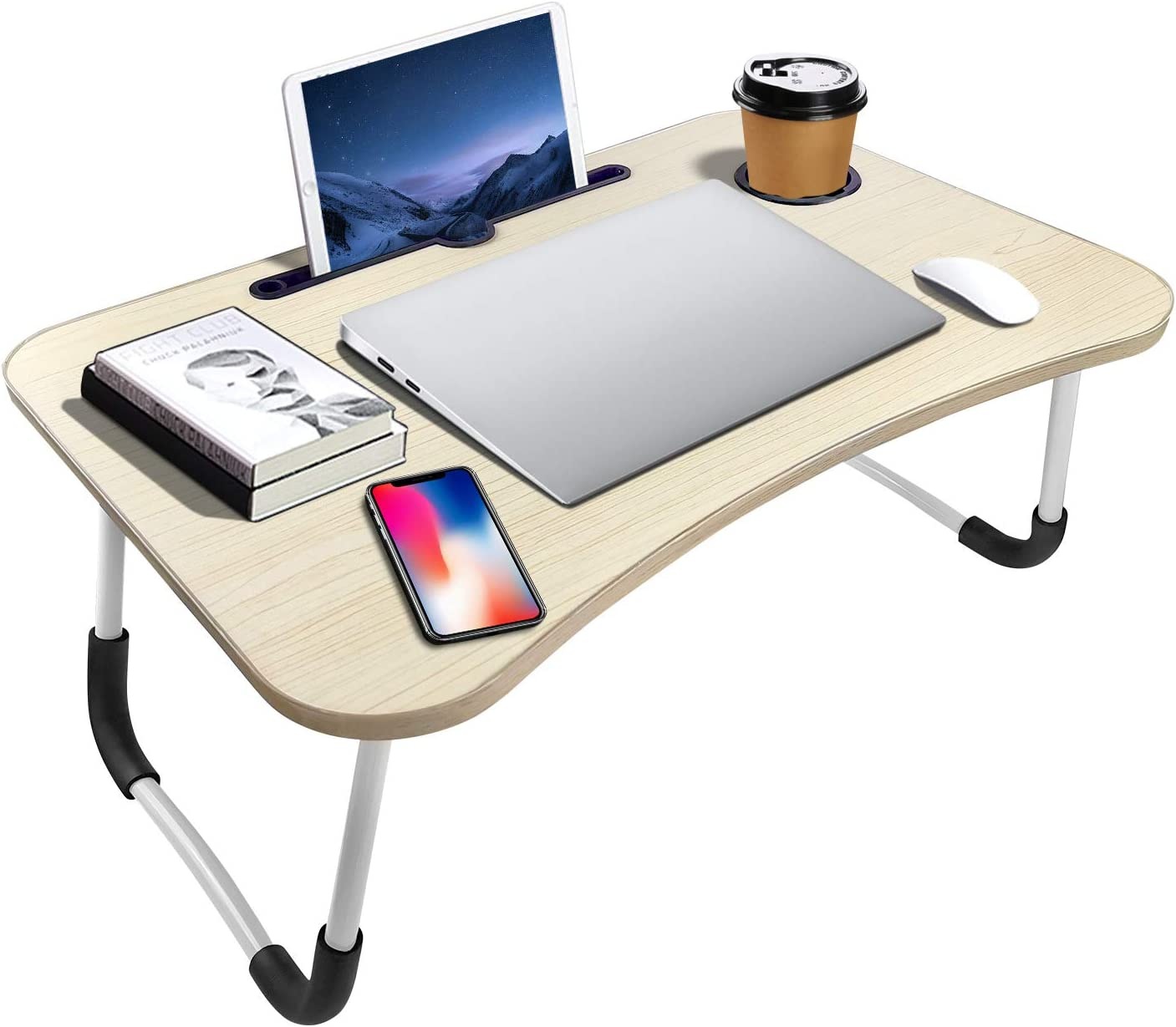 Portable Laptop Bed Table, Fordable Lap Desk with Cup Slot & Notebook Stand Breakfast Bed Trays for Eating and Laptops Book Holder Lap Desk for Floor,Couch, Sofa, Bed, Terrace, Balcony (White)