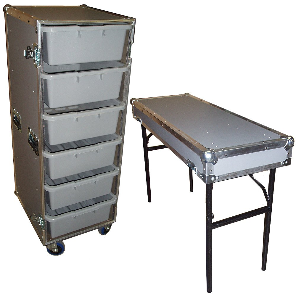 Drawer Workbox - 6 Large Tub - Drawer Heavy Duty 3/8 Ply ATA Case with Lid Table & Wheels by Roadie Products, Inc. (Image #1)