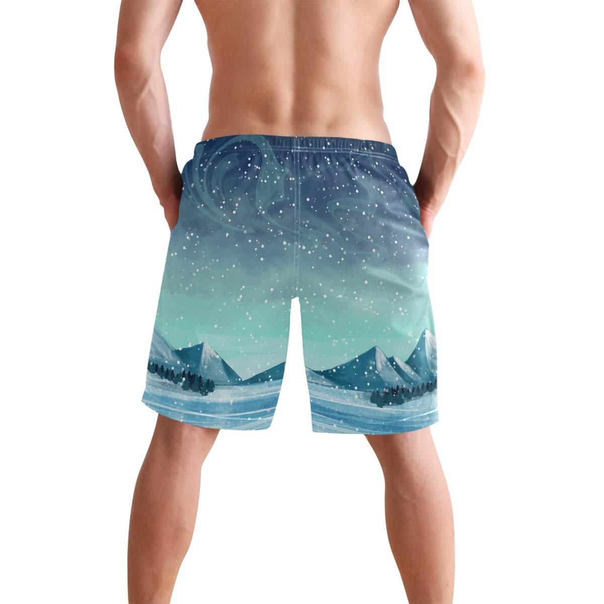 Men/'s Swim Trunks Beach Board Swimwear Shorts Snowy Evening Swimming Short Pants Quick Dry Water Shorts Mesh Lining