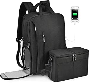 CADeN DSLR Camera Backpack Bag Waterproof Anti Theft with 15.6 inch Laptop Compartment, USB Charging Port, Tripod Holder, Rain Cover, Inner Case, Compatible for Sony Canon Nikon Olympus Black