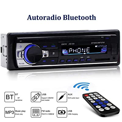 Bluetooth Car Stereo Multimedia Car Audio FM Radio Receiver Single Din LCD Hands-Free Calling Built-in Microphone: Electronics