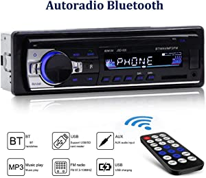 Bluetooth Car Stereo Multimedia Car Audio FM Radio Receiver Single Din LCD Hands-Free Calling Built-in Microphone