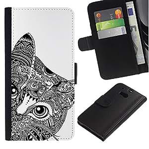 LASTONE PHONE CASE / Lujo Billetera de Cuero Caso del tirón Titular de la tarjeta Flip Carcasa Funda para HTC One M8 / Art Black White Drawing Eyes