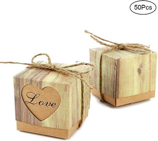 gotyou 50 Piezas Caja de Dulces,Caja de Regalo Retro Corazon,Caja ...