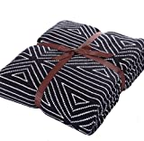 Ukeler 100% Cotton Geometric Triangle Throw for Indoor/Outdoor Use Camping Beach Everyday Blanket Bed Throws, 51 x 63 inch, Black and White