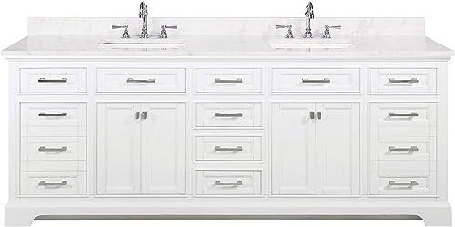Design Element ML-84-WT Milano 84″ White Bathroom Vanity