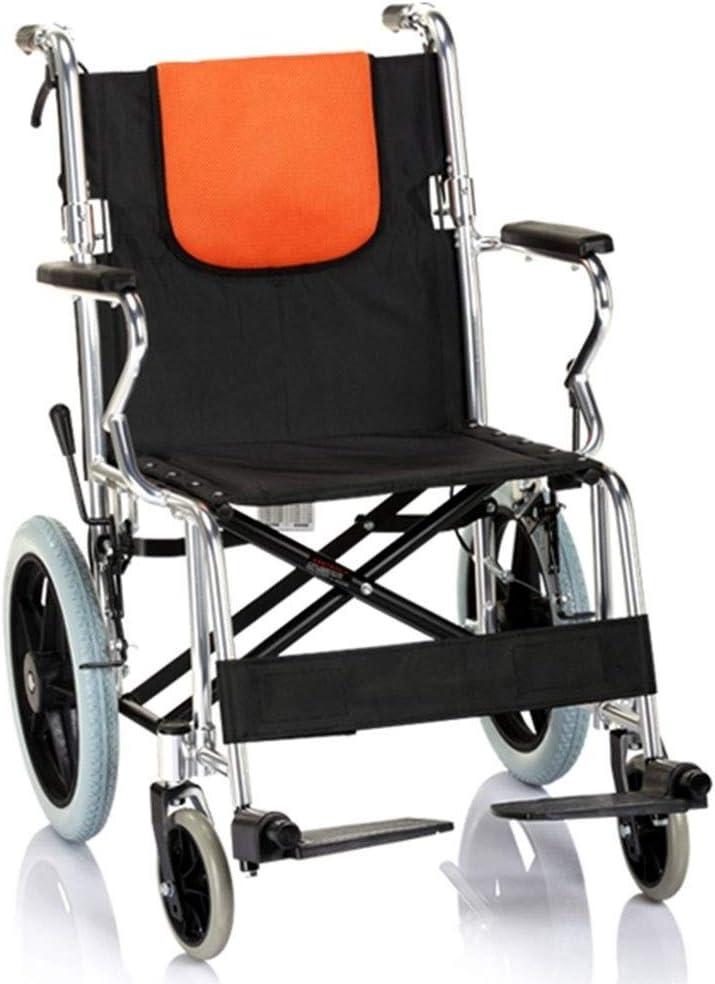 Carritos Ancianos Walker Luz portátil Plegable Empuje la Silla de Ruedas Manual con la Rueda Puede Sentarse en el Carro de Ancianos Rehabilitación Auxiliar con Freno de Mano Ayudas for Caminar