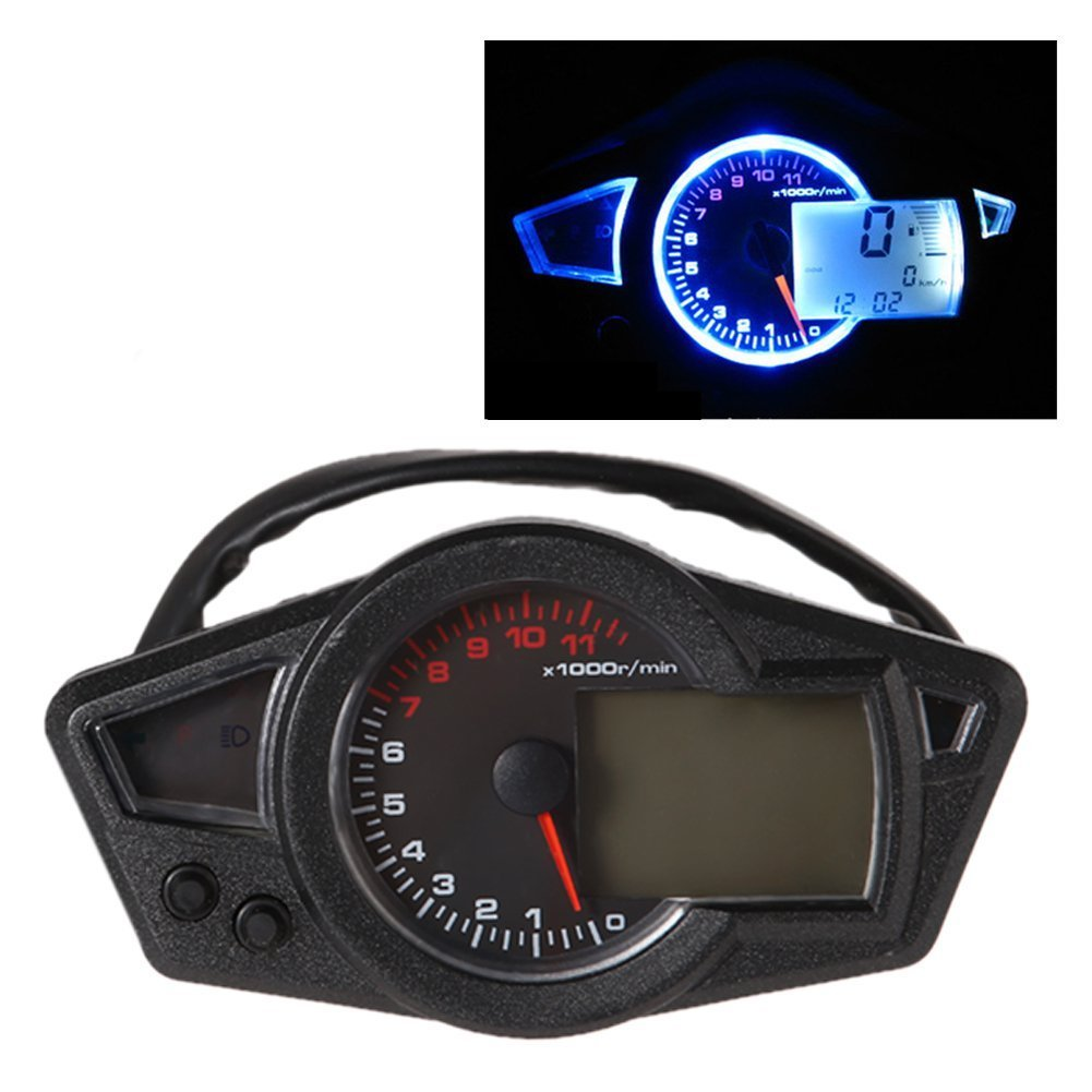 Electronic Speedometer Gauges : Lcd digital odometer speedometer tachometer motorcycle for