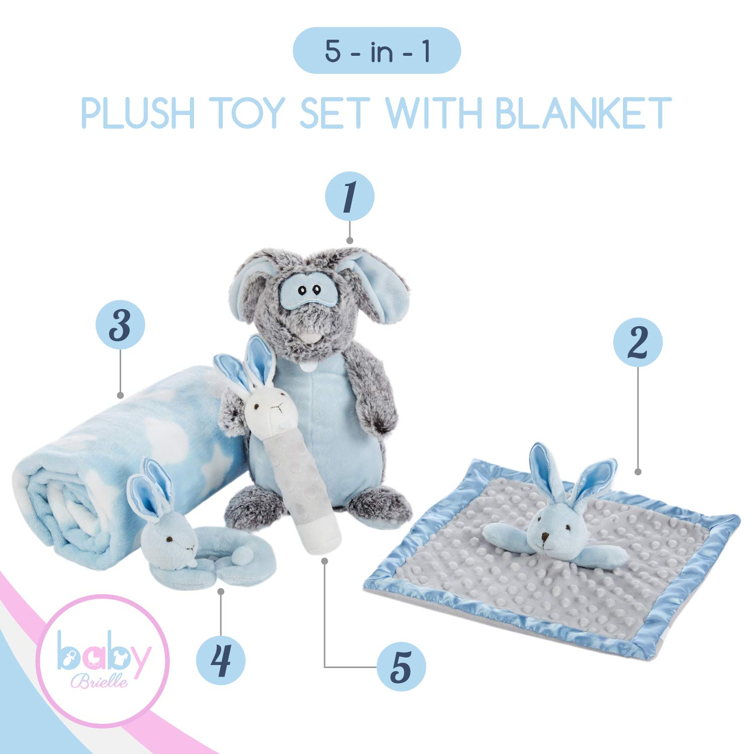 Baby Brielle 5 Piece Bunny Essentials Stuffed Animals Toy Gift Set with Plush Fleece Blanket, Security Soothing Lovey, and Rattles with Greeting Card for Boys, Blue