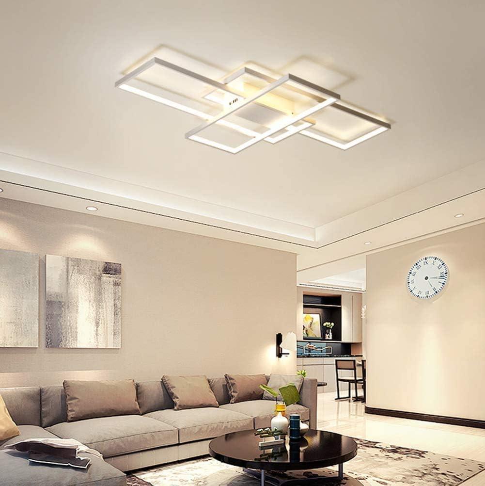 Jsz LED Dimmable Plafonnier Salon Lampe avec T/él/écommande Moderne Plafond Plafond Creative M/étal Acrylique Design Plafond Lampe /Éclairage Chambre D/écor Lampe,Noir,105cm
