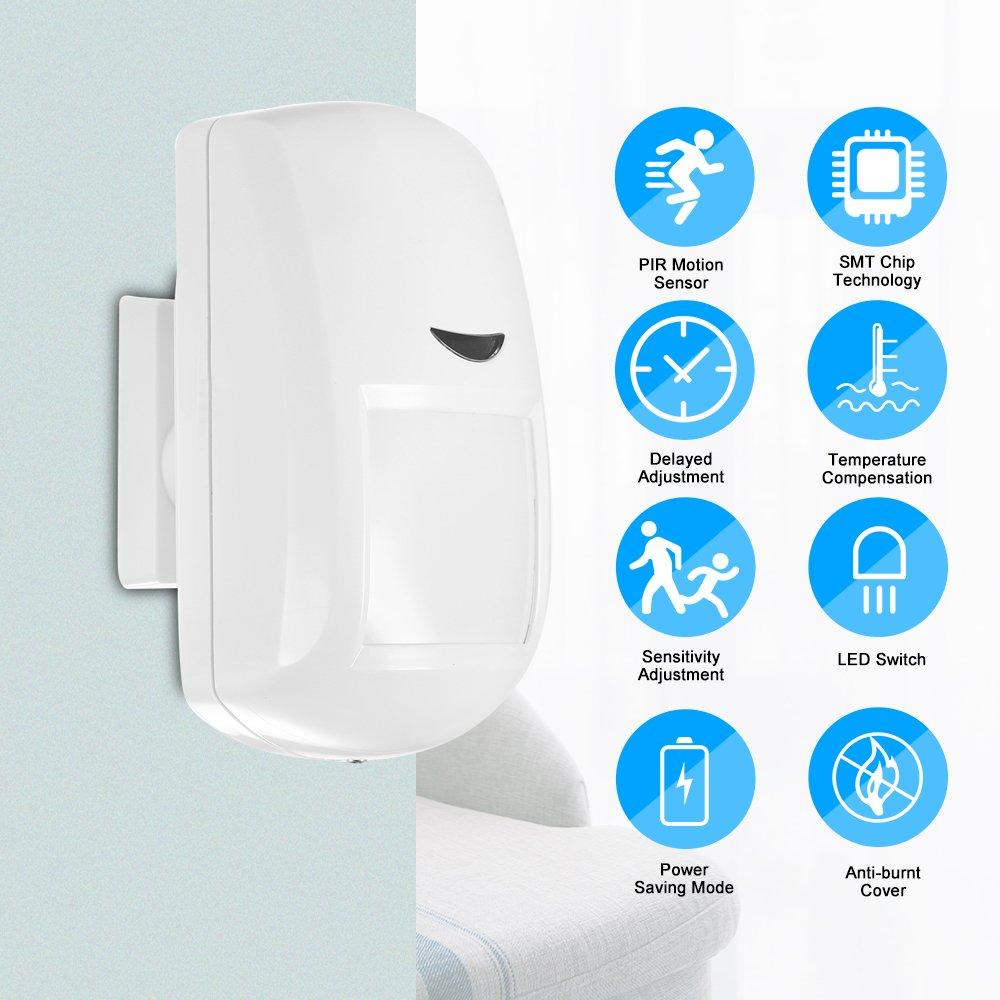 OWSOO Sensor de Movimiento Inalámbrico PIR con Alarma 433MHz Detector Infrarrojo para Seguridad de Hogar: Amazon.es: Bricolaje y herramientas