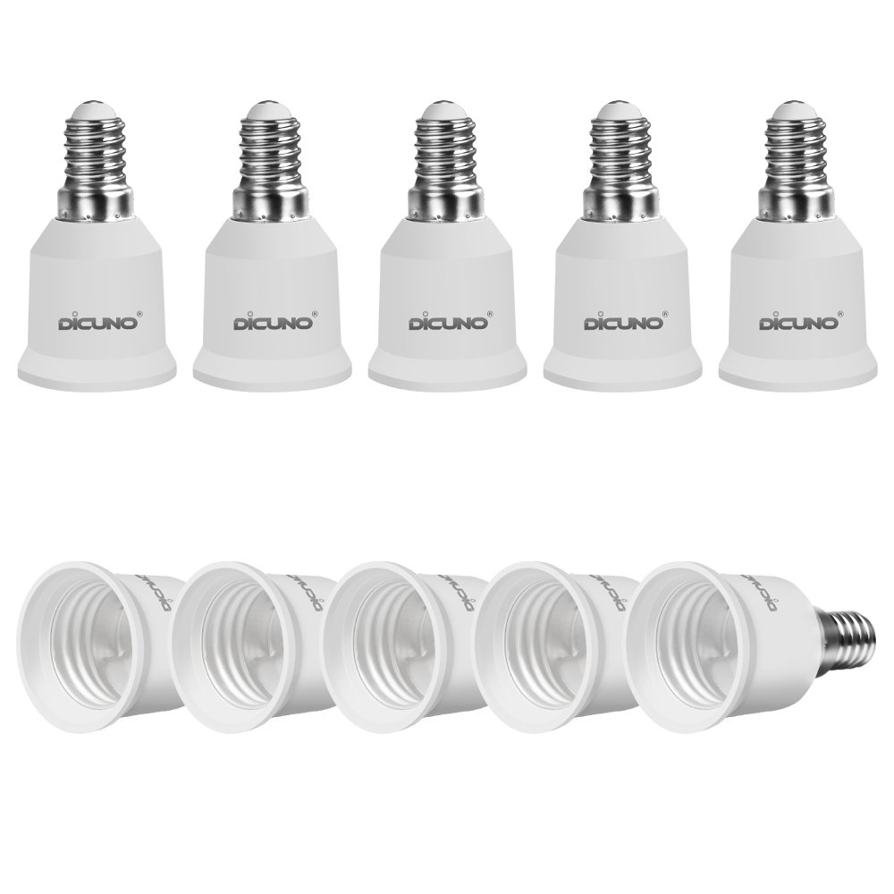 DiCUNO E14 to E27 Socket Converter 10-Pack Socket Adapter High Quality Lamp Base Adapter for LED Bulbs and Incandescent Bulbs and CFL Bulbs