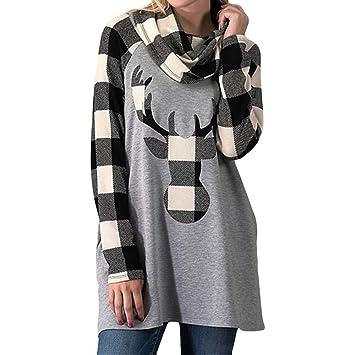 b5baf614464a9 Amazon.com   Franterd Christmas Tops Women Casual Lattice Christmas Elk  Head Print Scraf Neck Raglan Patchwork Pullover Blouse   Baby