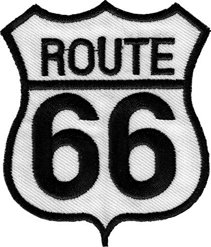 Route 66 Highway Sign - Embroidered Iron On or Sew On Patch (Route 66 Hwy Sign)