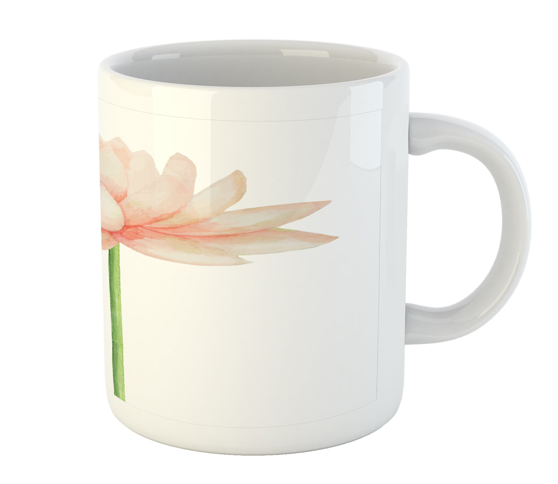 Ambesonne Yoga Mug, Pastel Colored Blooming Lotus Flower Romantic Fresh Garden Plant Spa Theme, Printed Ceramic Coffee Mug Water Tea Drinks Cup, Peach Green and White by Ambesonne (Image #2)