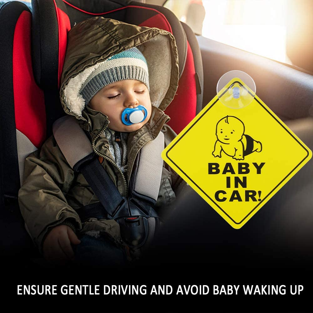 chudian 6 Pcs Adesivi Bambini a Bordo Bimbo a Bordo per Auto Baby on Board Auto Adesivi Sticker Baby on Board con Ventosa 12 * 12cm,Giallo