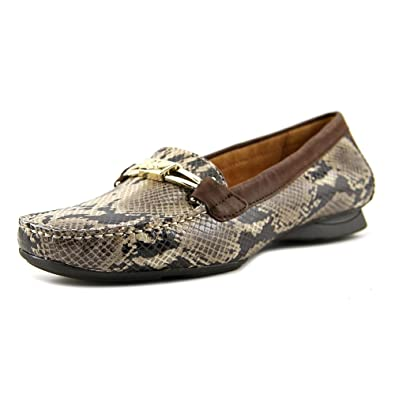 Naturalizer Womens Saturday Moccasin,Taupe Snake/Oxford Brown Leather,US 4 M