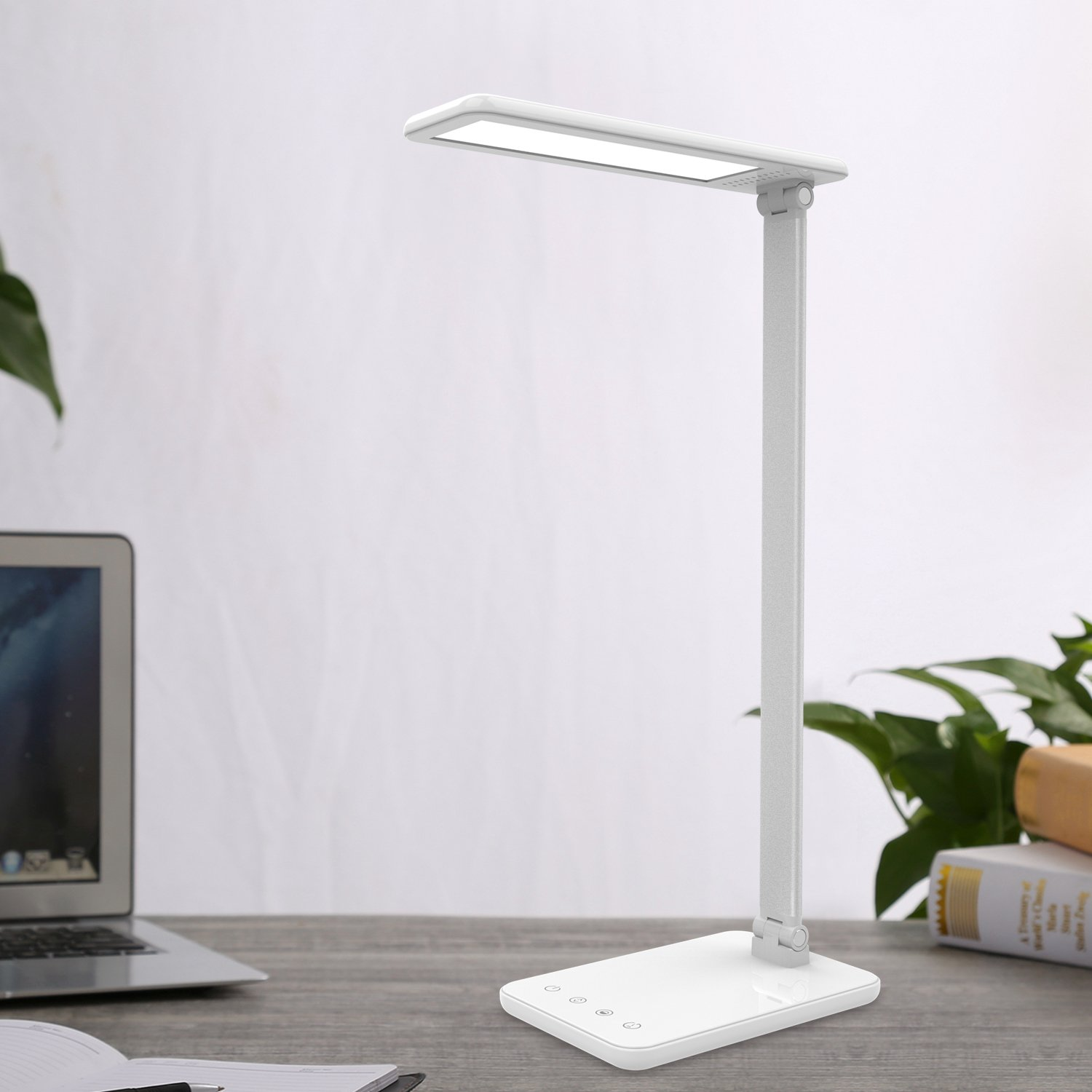 MoKo Dimmable LED Desk Lamp, 8W Touch-Sensitive Control Eye-Caring Working / Reading Table Lamp, Continuously Dimmable Brightness & Color Temperature, 1-Hour Auto Timer, Adjustable Arm & Head - WHITE by MoKo (Image #8)