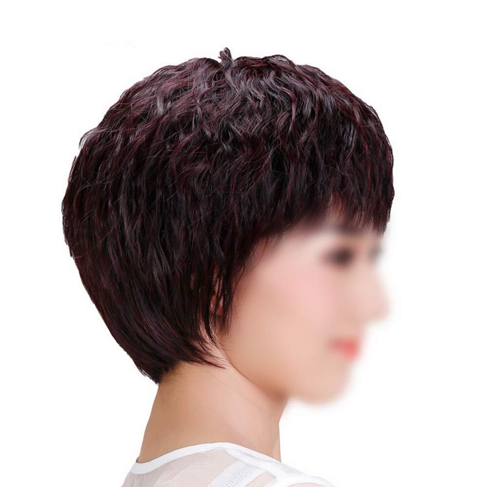 Yrattary 女性のための手織りの自然な人間の髪の毛ショートストレートヘア中年のかつら母のギフトファッションかつら (Color : Natural black, サイズ : Hand-needle) B07QHDMK3L Natural black Hand-needle