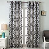 NAPEARL European Style Jacquard Semi-Blackout Grommet Top Window Curtain Panel Set of 2 Panels (Gray, 52″ Wx96 L)