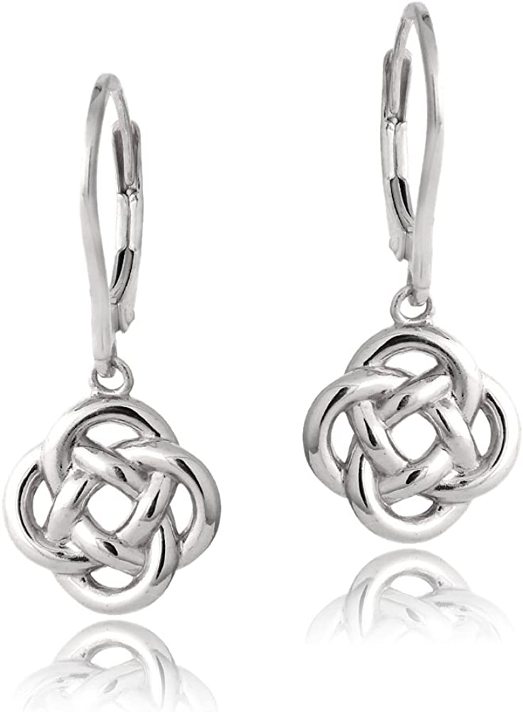 Hoops & Loops - Sterling Silver Love Knot Flower Dangle Leverback Earrings | Black, Sterling Silver, Yellow and Rose Flash Plated