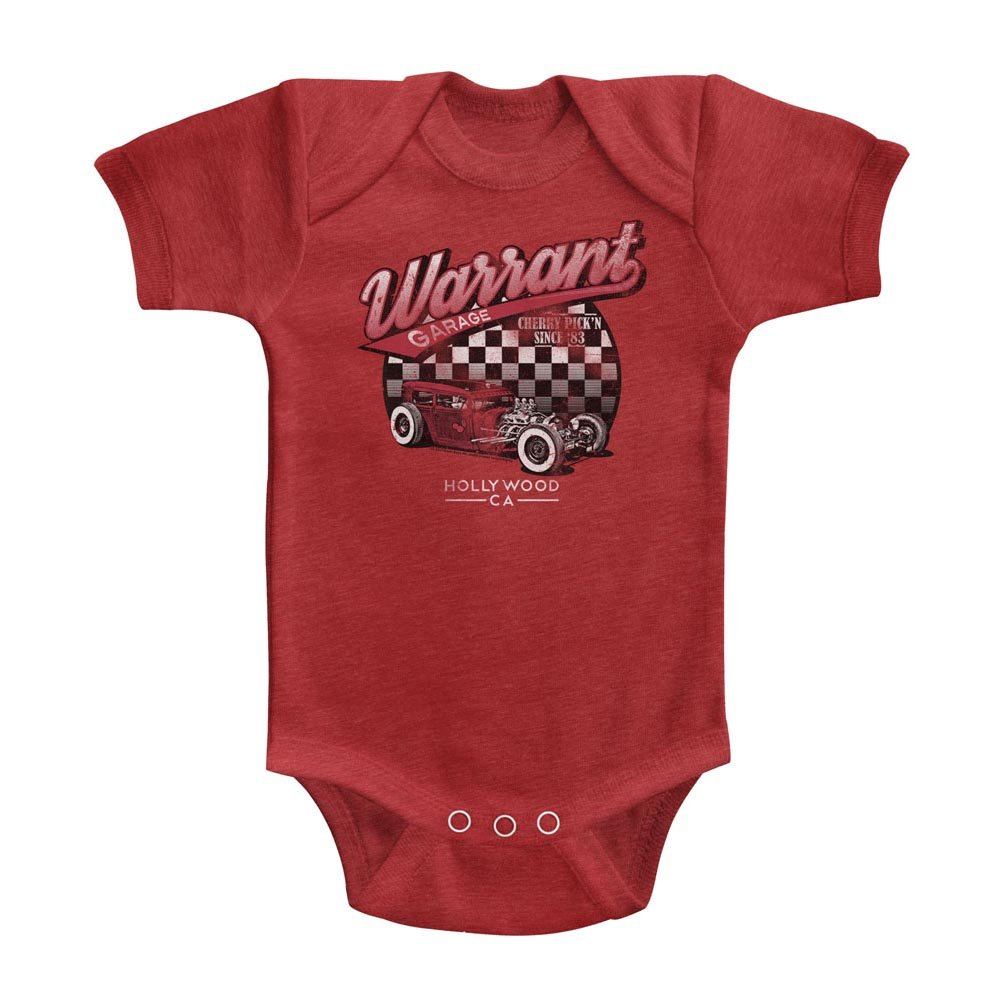 A/&E Designs Warrant Band Infant Bodysuit Garage Vintage Red Romper