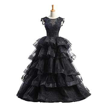ELEGENCE-Z Vestido De Novia Negro, Corte Dimensional Sin Montura De Novia Europa Y