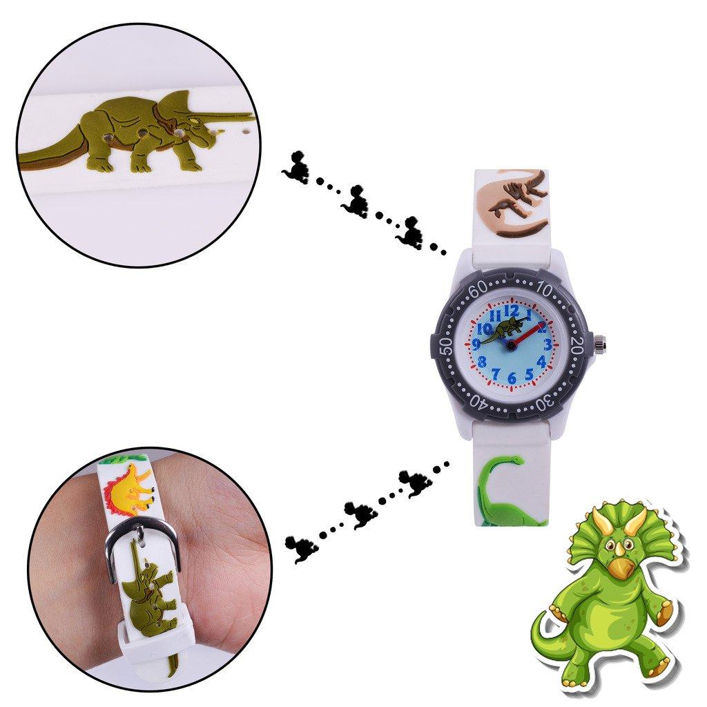 WOLFTEETH Analog Grade School niño pequeño Reloj de Pulsera con la Mano de 3D Dinosaurio Correa Blanca Dial Resistente al Agua Reloj de Pulsera de niño ...