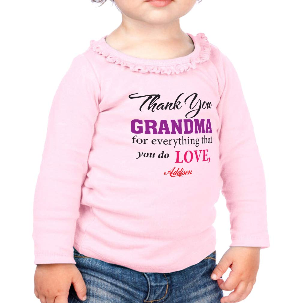 Custom Grandma for Everything Cotton Toddler Long Sleeve Ruffle Shirt Top