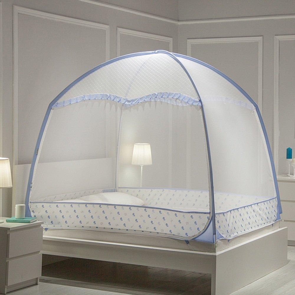 Moskitonetze MEIDUO Blau/Grün Mongolian Mosquito Net Drei öffnen die Tür Edelstahl Halterung (1.2/1.35/1.5/1.8m/2/2.2m Bett)