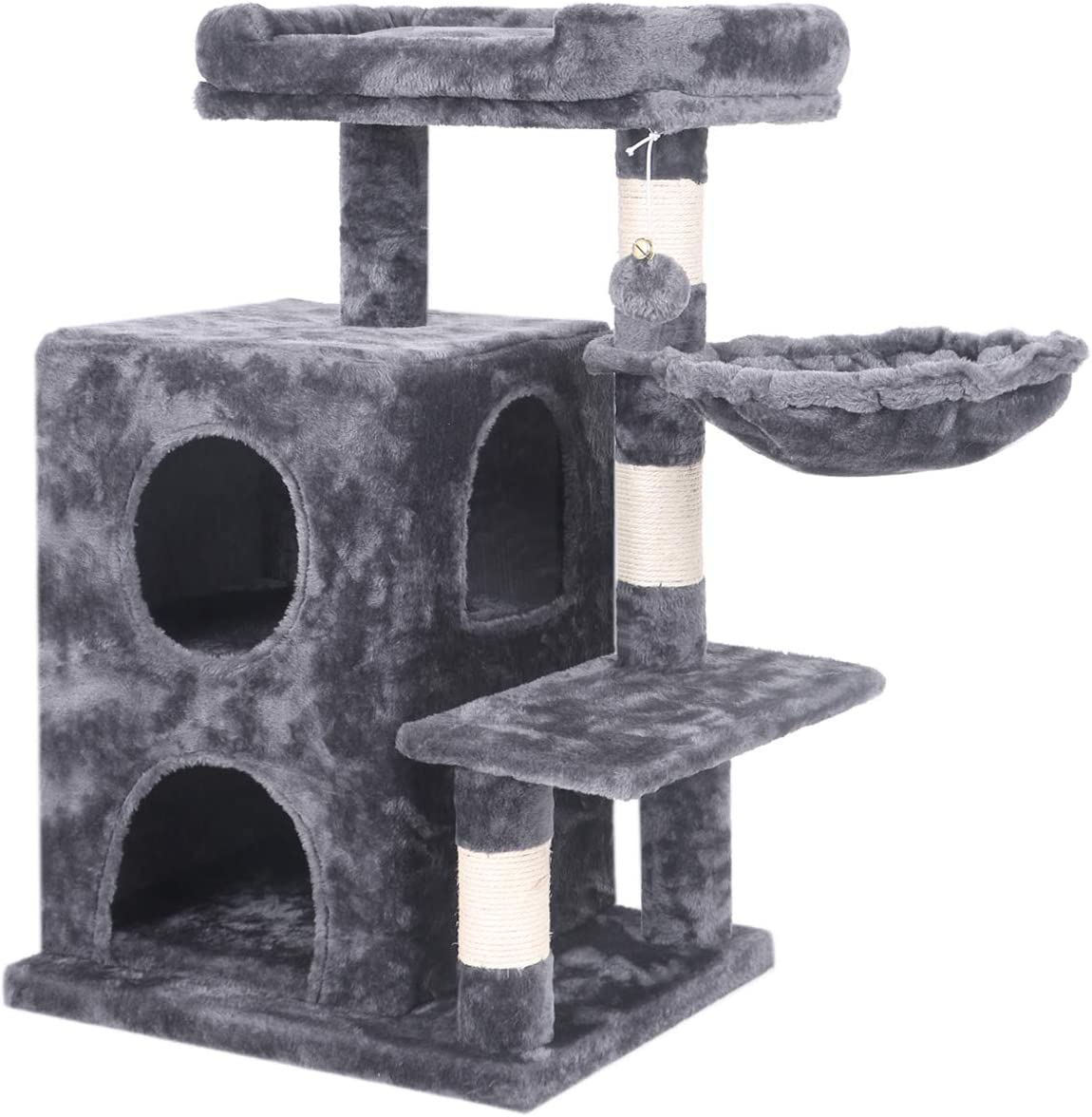 BEWISHOME Cat Tree Condo with Sisal Scratching Posts, Plush Perch, Dual Houses and Basket, Cat Tower Furniture Kitty Activity Center Kitten Play House MMJ06