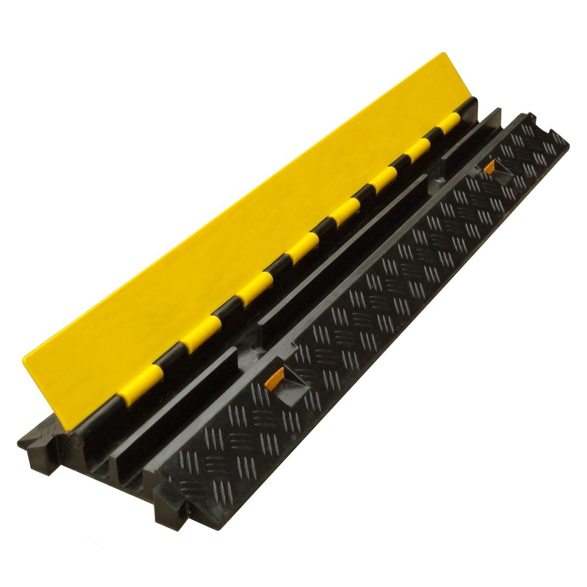 SnS Safety LTD DP-2x1 Dual Channel Modular Rubber Protector Ramp with Hinged Lid, for 1.14'' Diameter Conduits, Dimensions: 39.4'' L x 9.8'' W x 1.8'' H (Pack of 1)