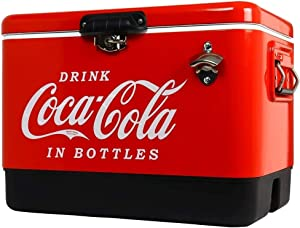 Coca-Cola Ice Chest Beverage Cooler with Bottle Opener 51 L /54 Quart for Camping, Beach, RV, BBQs, Tailgating, Fishing