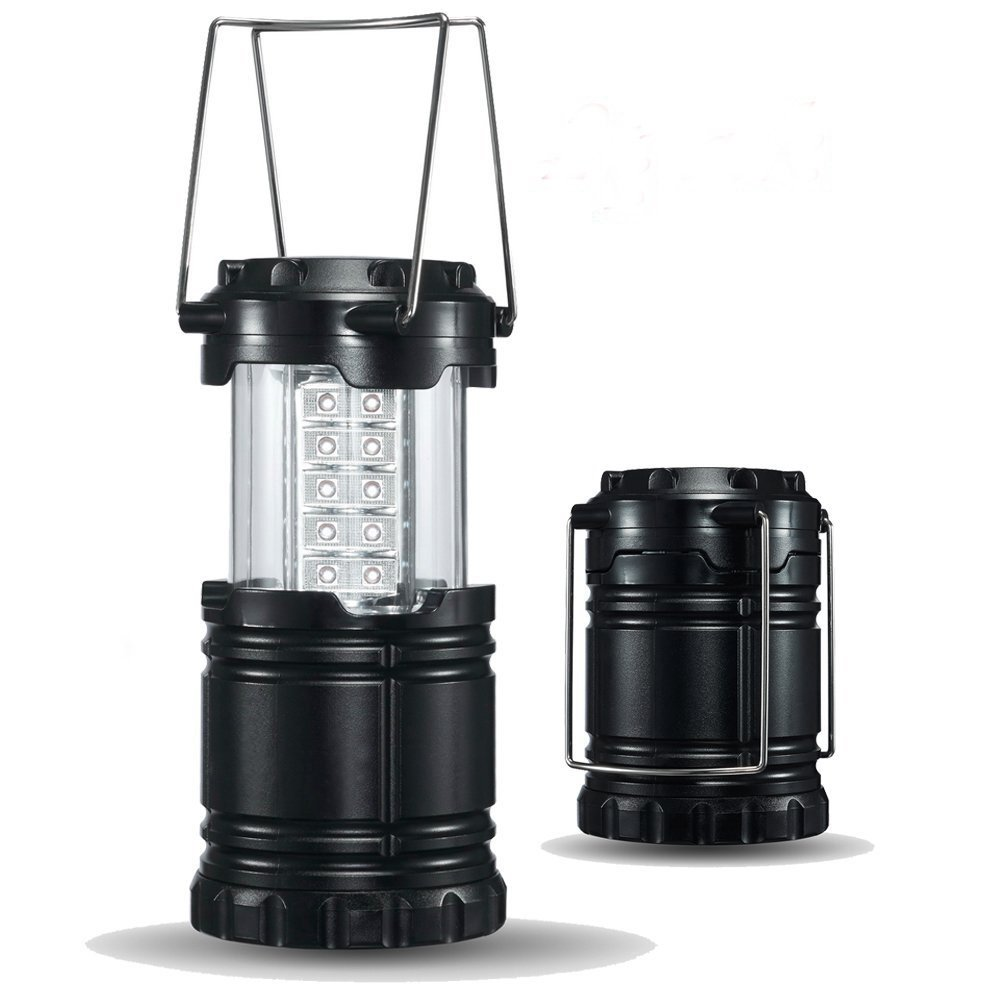 Glmhrnna 2 Pack Water Resistant LED Camping Lantern - Survival Kit for Emergency, Hurricane, Storm, Outages, Outdoor Portable Lantern, Black, Collapsible,Battery Powered