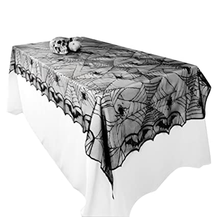 Amazing UPRetailer Halloween Tablecloths Fabric Black Lace Spiderweb Tablecloth  Rectangle 97.6x48.4u0026quot;