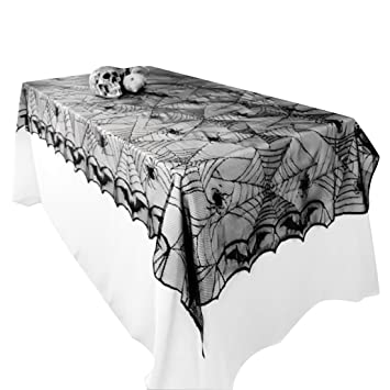 Great UPRetailer Halloween Tablecloths Fabric Black Lace Spiderweb Tablecloth  Rectangle 97.6x48.4u0026quot;