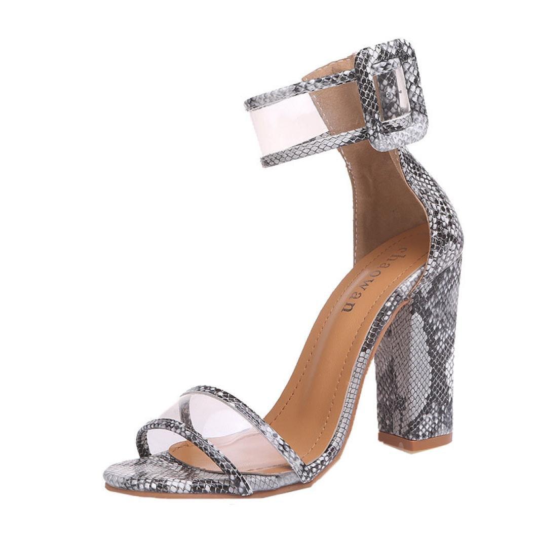 Elevin 2018Womens Summer Block High Heel Sandals Ankle Platforms Shoes Buckle High Heels TM