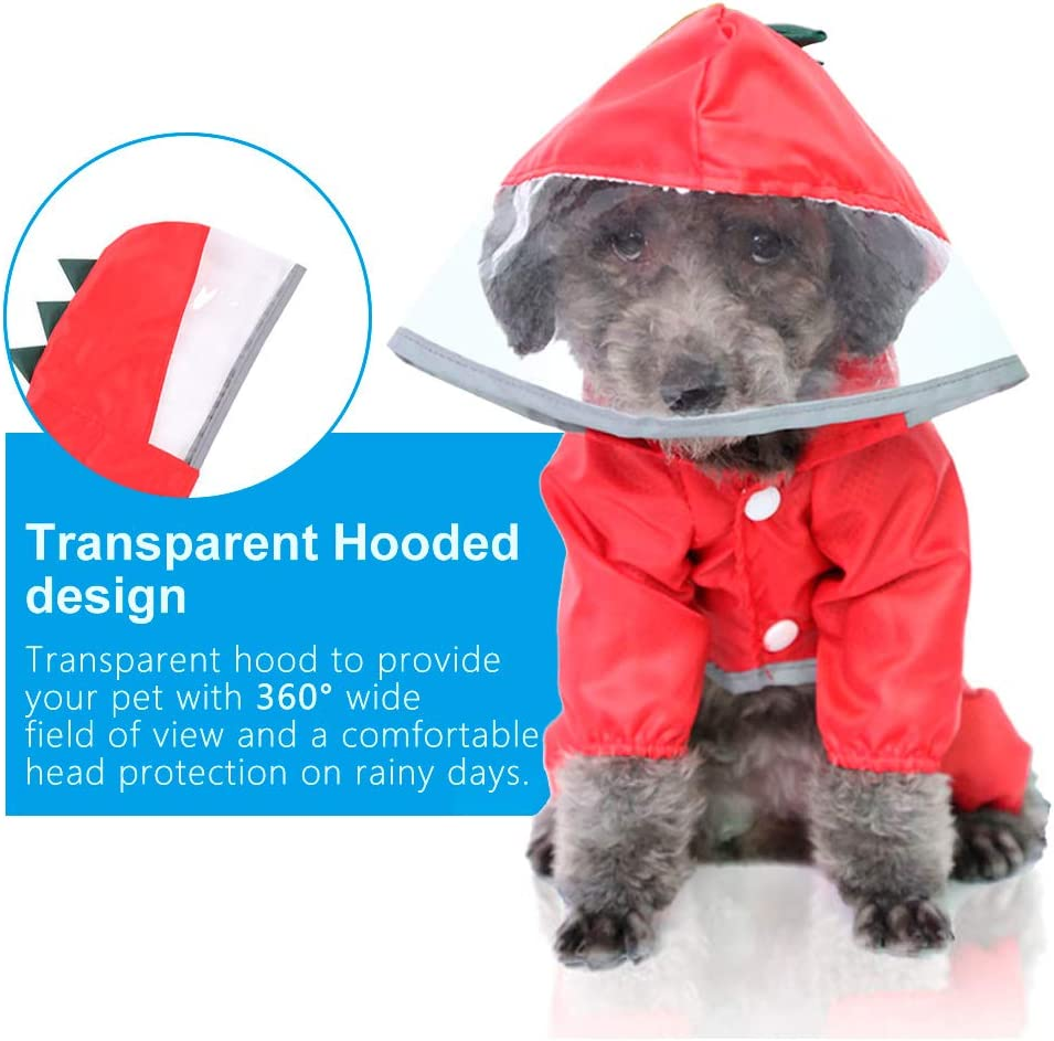 Breathable Reflective Dog Waterproof Coat Rainwear with Harness Hole for Medium Small Dogs Ertisa Pet Dog Raincoat with Legs and Transparent Hood
