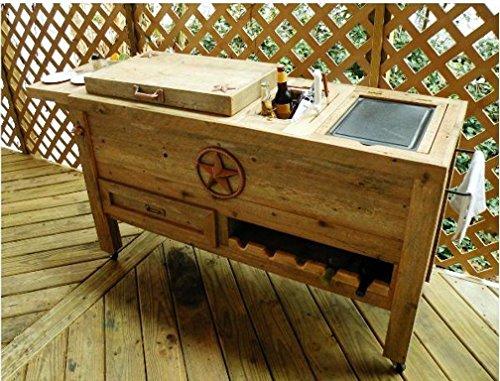 Outdoor Patio Cooler Bar Wooden Rustic Kitchen Furniture