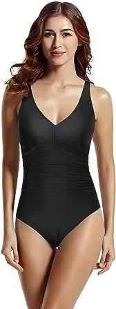 zeraca Women's V Neckline Tummy Control One Piece Swimsuit